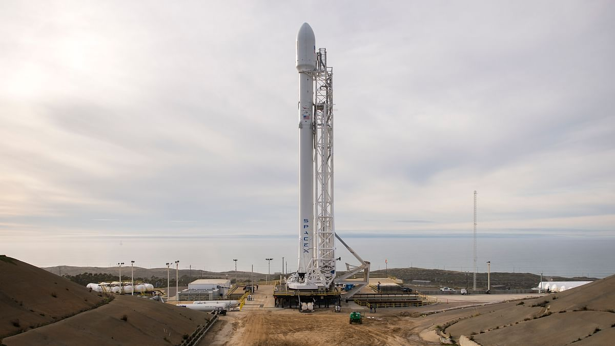 The SpaceX Falcon 9 rocket.