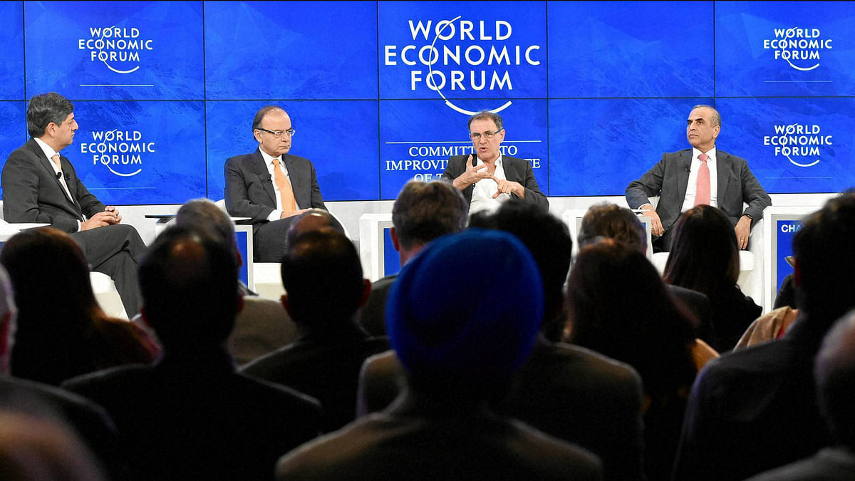 (L to R) Vikram Chandra (NDTV), Finance Minister Arun Jaitley, Nouriel Roubini, Professor of Economics and International Business, Leonard N Stern School of Business, New York University, USA, Sunil Bharti Mittal, Chairman, Bharti Enterprises, India seen during the session India and the World at the Annual Meeting 2016 of the World Economic Forum in Davos, Switzerland (Photo: PTI)