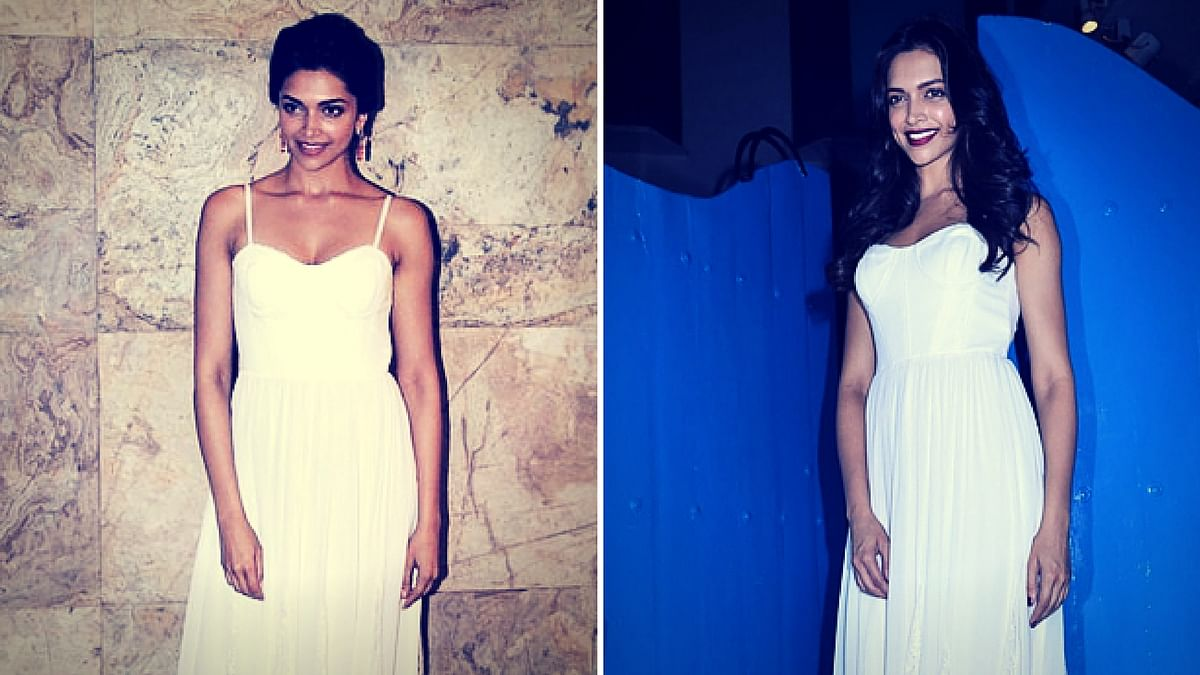Deepika Padukone sporting the same Alice+Olivia white maxi dress on two different occasions – albeit with different hair and lipstick.