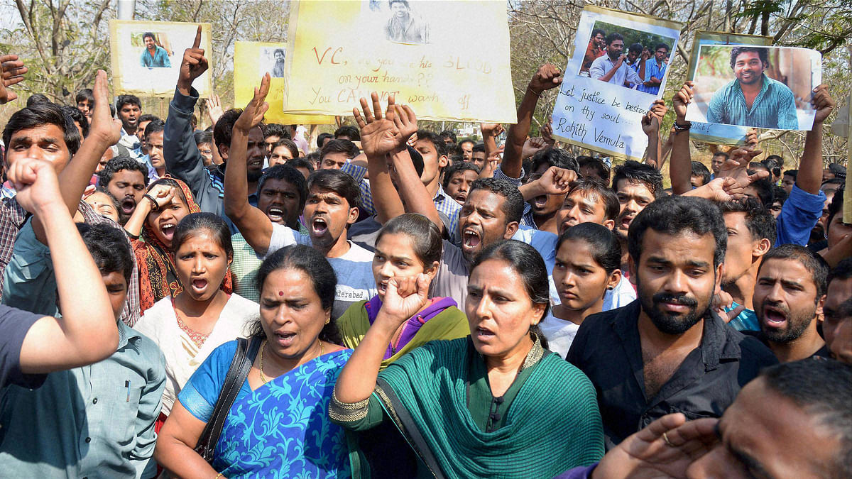 Students staging a protest over the death of Rohith Vemula, a doctorate student at the Hyderabad Central University who was found hanging in a hostel room, in Hyderabad on Monday. (Photo: PTI)