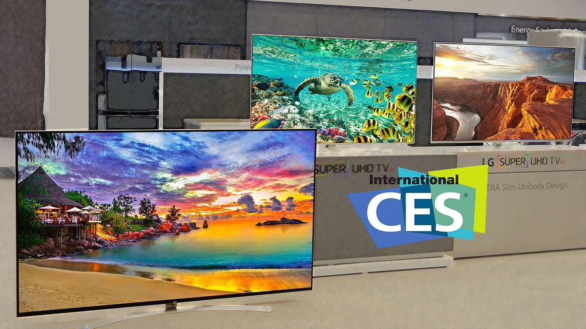 LG's SUPER UHD TV's 86UH9550, 65UH9500 and 65UH8500 at CES 2016. (Photo: LG)