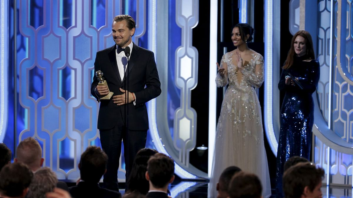Leonardo Di Caprio with his award for Best Actor for <i>'The Revenant'</i>, at the 73rd Golden Globe Awards. (Photo: Reuters)