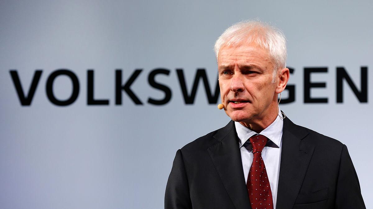 Volkswagen AG chief executive officer Matthias Müller speaks in Detroit on Sunday. (Photo: AP)