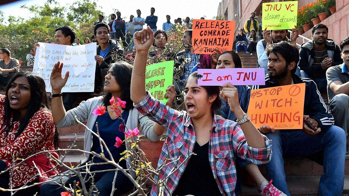Students agitating for the release of JNU Students' Union President Kanhaiya Kumar at the university  campus. (Photo: PTI)
