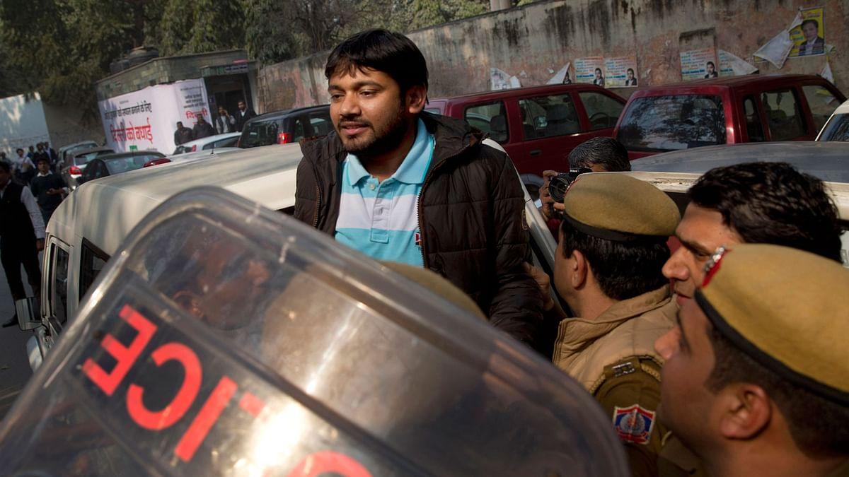 File photo of  JNUSU President Kanhaiya Kumar being taken to court by Delhi police.(Photo: AP)