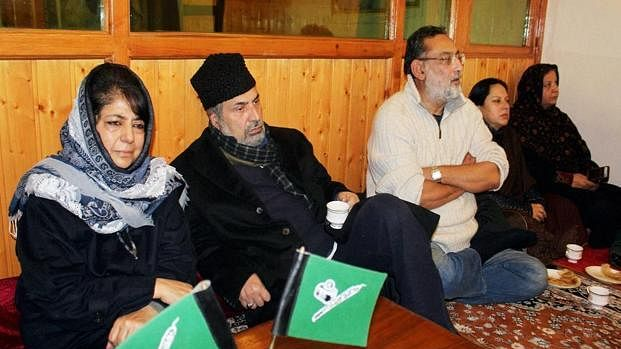 PDP chief Mehbooba Mufti meeting party leaders in Srinagar in January-end this year. (Photo: PTI)