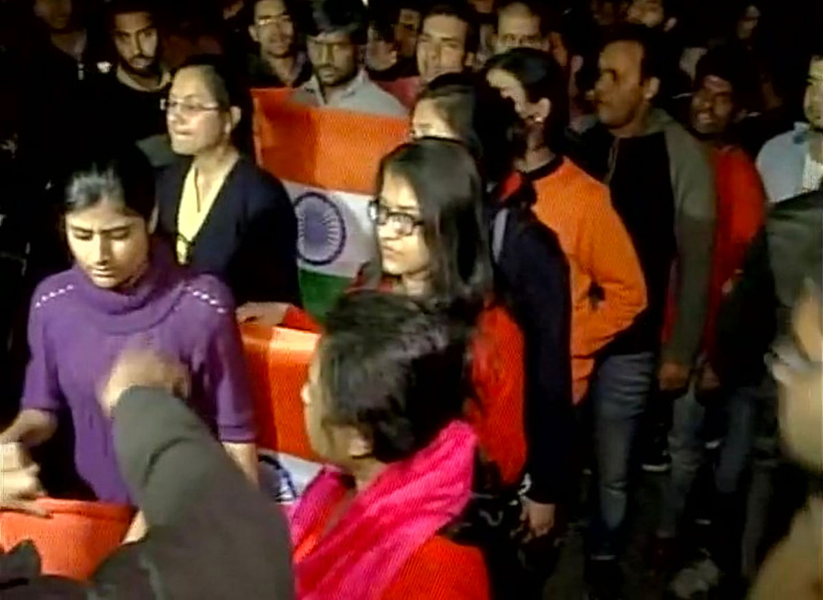 ABVP  students protesting outside the JNU campus in Delhi on the night of Friday, 12 February. (Photo Courtesy: ANI)