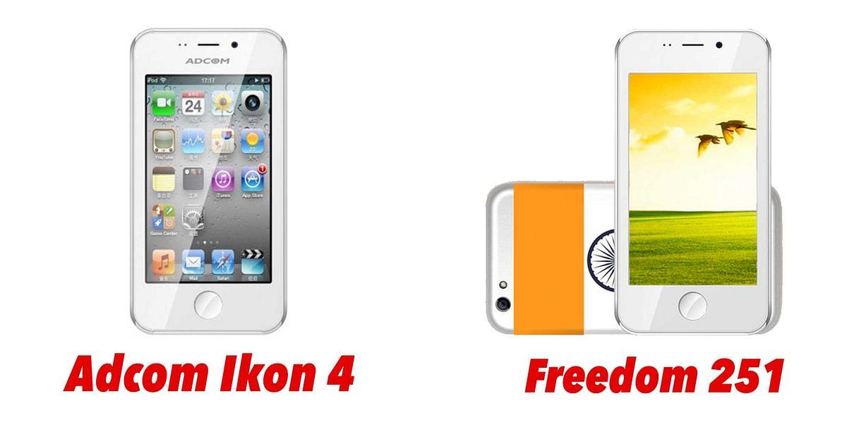 Adcom Ikon 4 and Freedom 251 are similar phones. (Photo: <b>The Quint</b>)