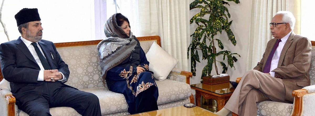 File photo of PDP chief Mehbooba Mufti meeting J&K Governor. (Photo: PTI)