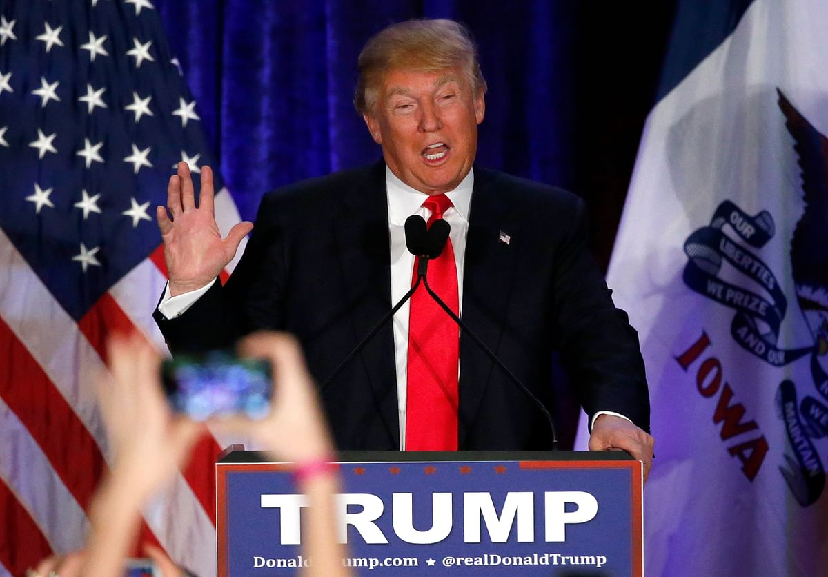 Republican presidential candidate, businessman Donald Trump speaks at his caucus night rally in Iowa. (Photo: AP)