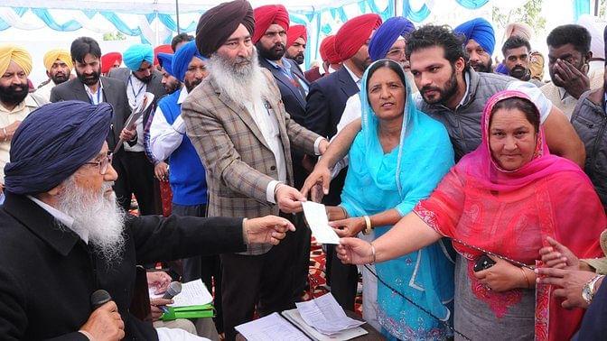 Punjab Chief Minister Parkash Singh Badal at Khadoor Sahib, Punjab. (Photo: IANS)