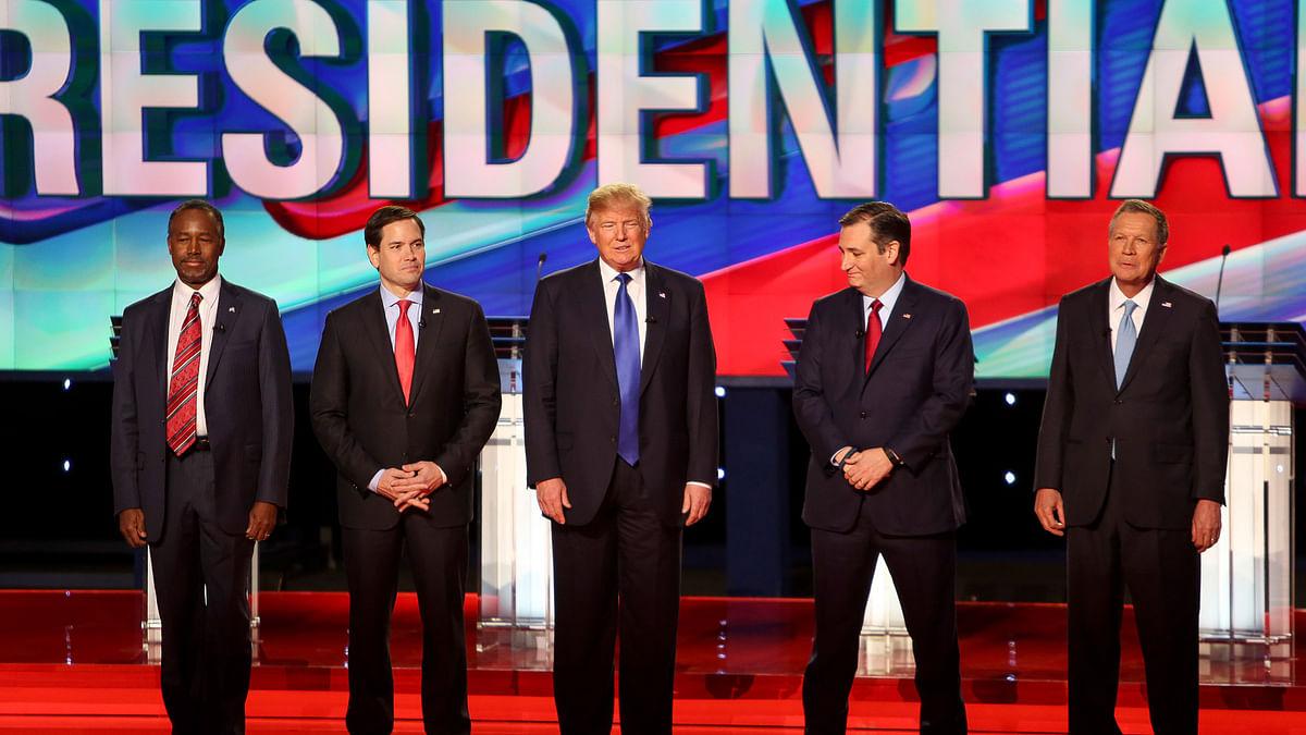 Republican presidential candidates Donald Trump, Sen. Ted Cruz,  and Ohio Gov. John Kasich  during the Republican Presidential Primary Debate, 25 February  2016. (Photo: AP)