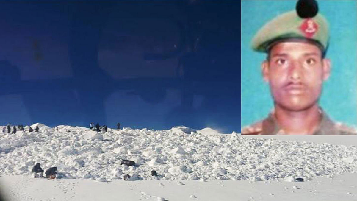Rescue ops undertaken at the Siachen glacier avalanche site. Lance Naik Hanamanthappa (inset). (Photo: Ministry of Defence)