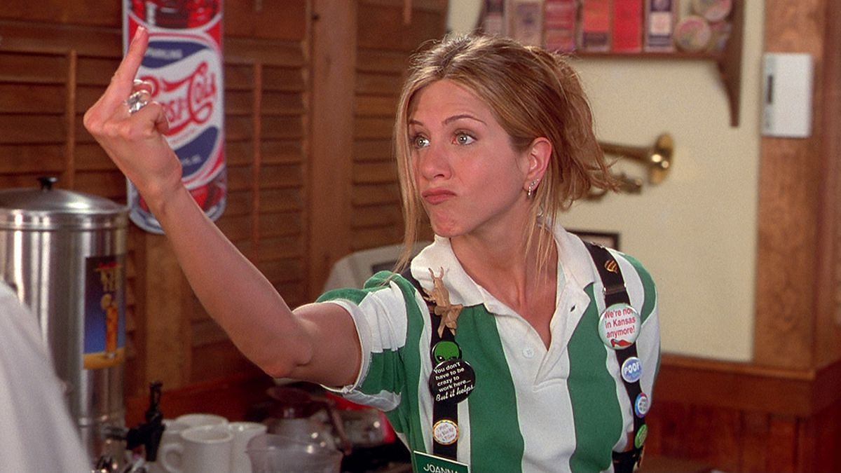 Jennifer Aniston in a still from <i>Office Space</i>