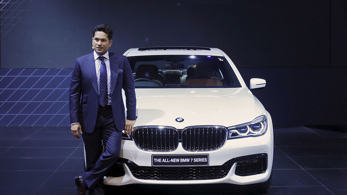 Sachin Tendulkar takes the stage to launch BMW X1 SUV and the BMW 7 Series luxury sedan for the Indian market. (Photo: Reuters)