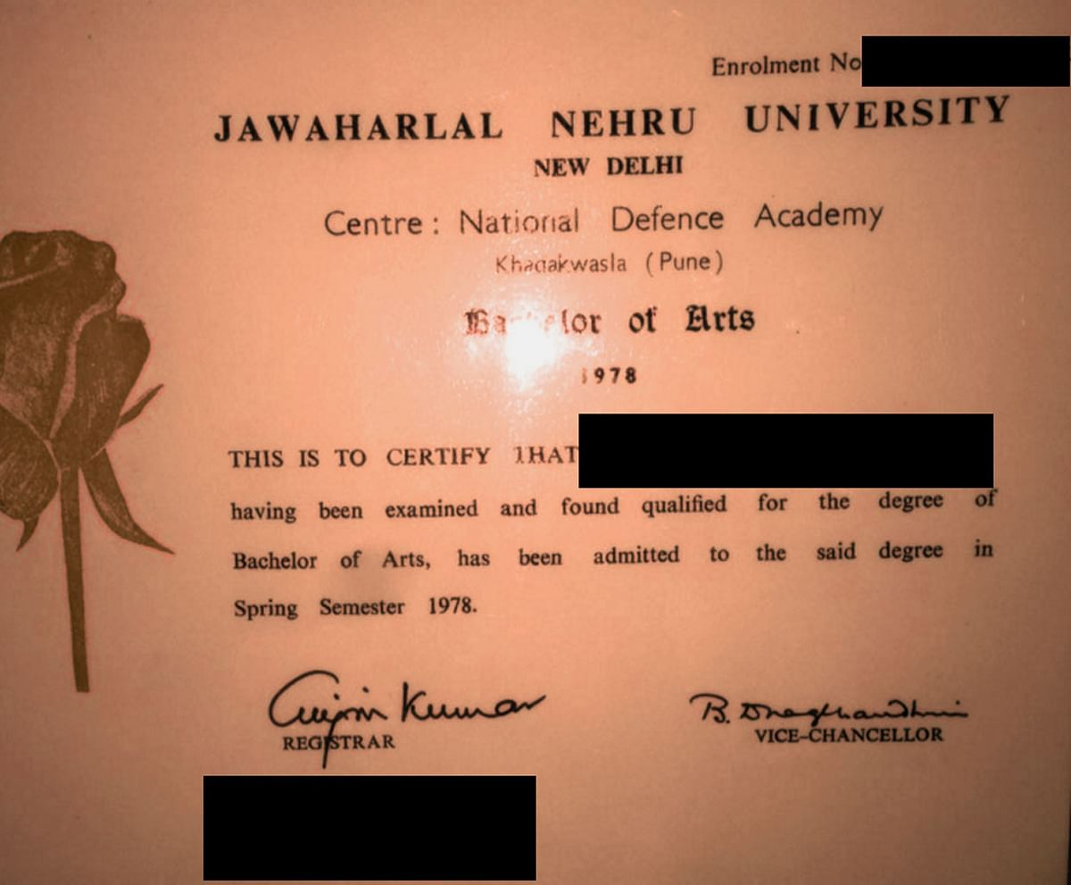 Admission certificate of a JNU passout from the National Defence Academy.