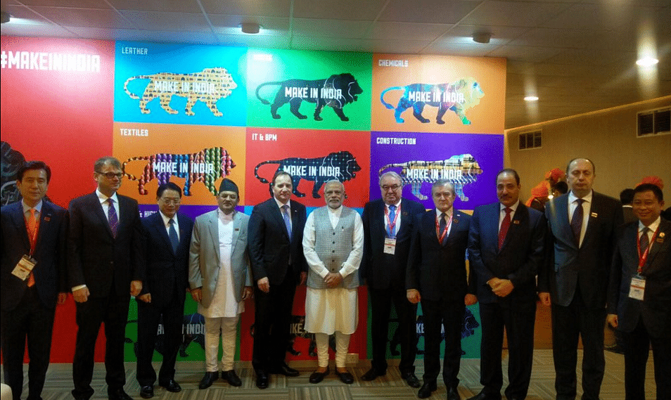 "Narendra Modi at the Make in India exhibition (Photo: twitter/<a href=""https://twitter.com/narendramodi"">@narendramodi</a>)"