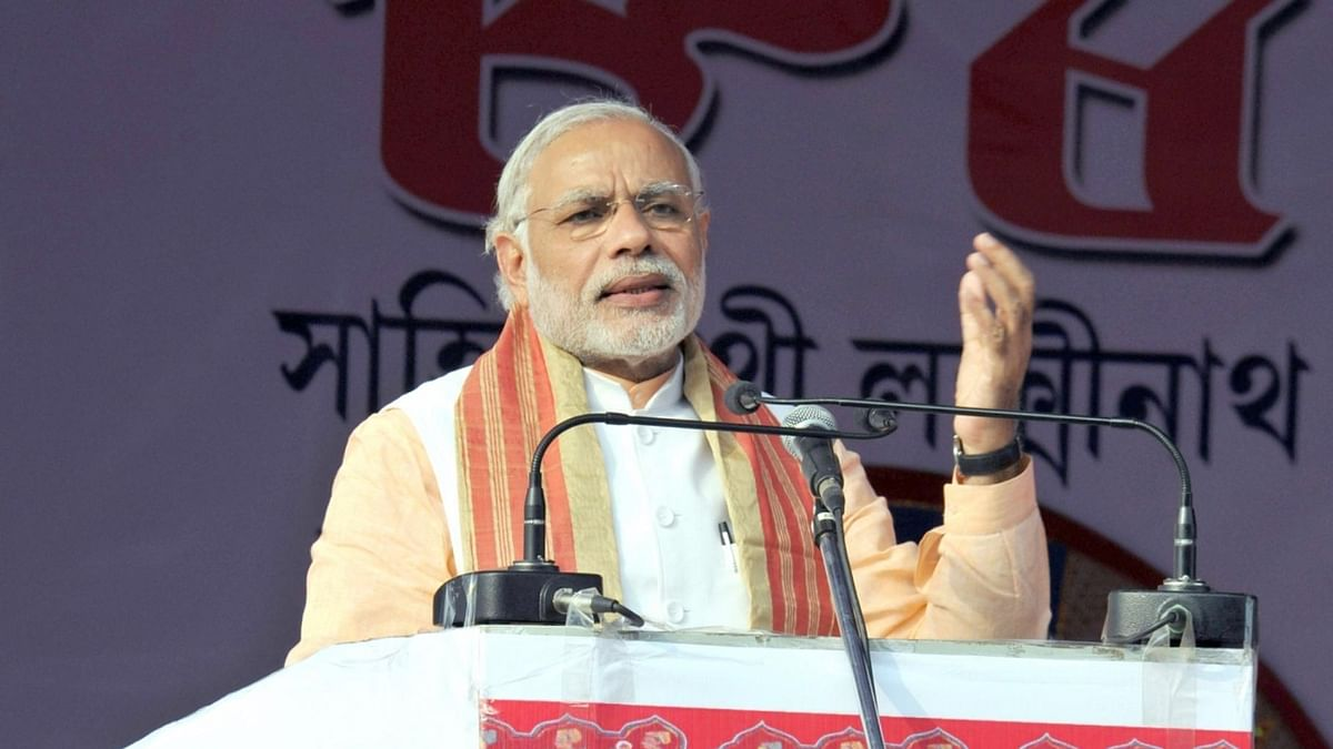 Prime Minister Narendra Modi addressing a rally. (Photo: IANS)