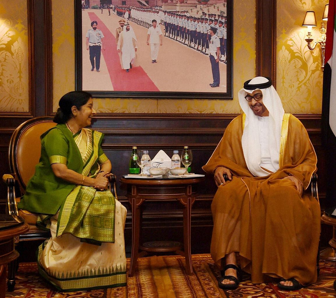 External Affairs Minister Sushma Swaraj with Abu Dhabi's crown prince Sheikh Mohamed bin Zayed Al Nahyan. (Photo: PTI)