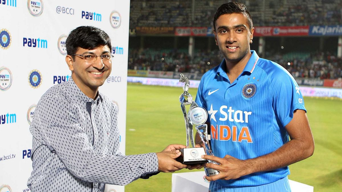 Ravichandran Ashwin was named the man of the match in Vizag and also awarded the man of the series trophy. (Photo by: Ron Gaunt / BCCI / Sportzpics)