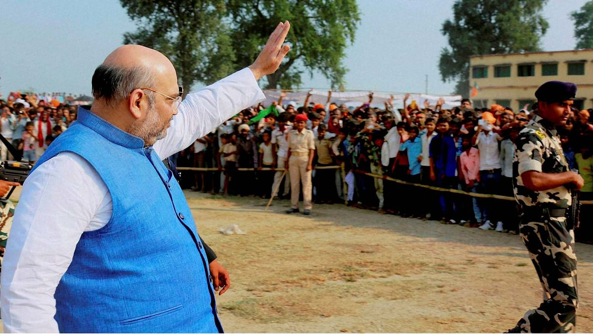 BJP President Amit Shah during an election rally.