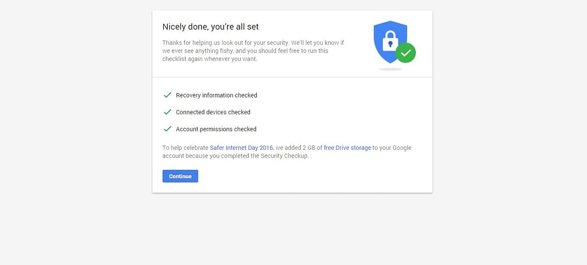 The 2GB storage is now part of your account. (Photo: Google Screengrab)
