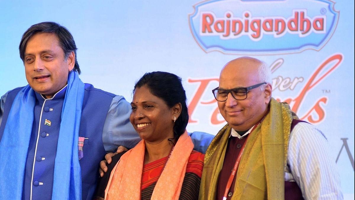P Sivakami (C) flanked by Shashi Tharoor (L) and Sudheendra Kulkarni (R) during the 2016 Jaipur Literature Festival. (Photo: IANS)