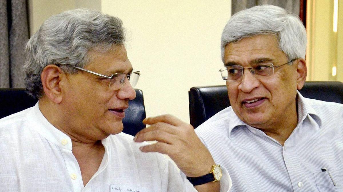 Sitaram Yechury, CPI(M) General Secretary  with  Prakash Karat (right) during the party meeting on upcoming Bengal polls. (Photo: PTI)