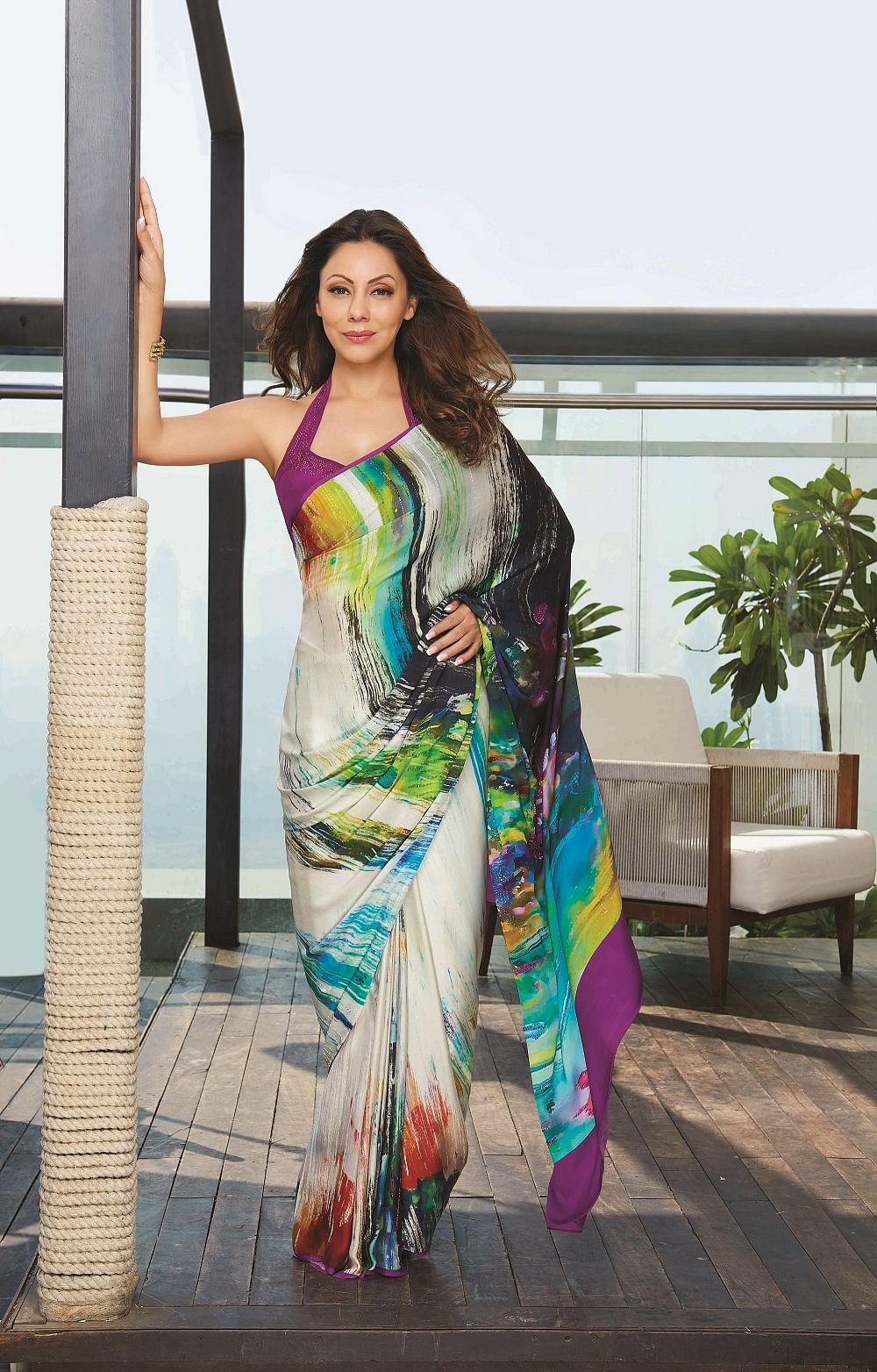 Gauri Khan drapes herself in a  sari from Satya Paul's <i>Cocktails and Dreams </i>collection (Photo: Yogen Shah)