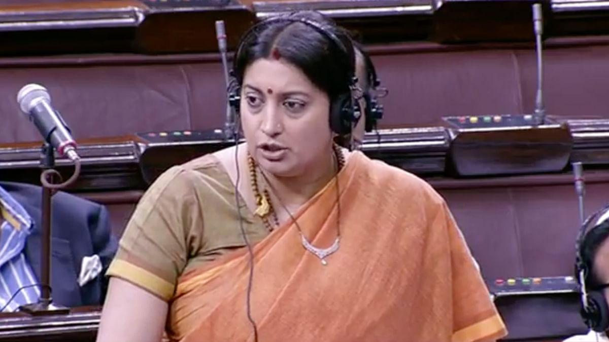 Smriti Irani speaks in Rajya Sabha on the third of Budget session 2016. (Photo: PTI)