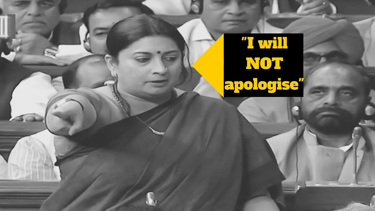 HRD Minister Smriti Irani gives quite the performance in Lok Sabha. (Photo Courtesy: LSTV, altered by <b>The Quint</b>)