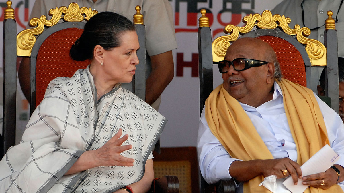 Congress chief Sonia Gandhi and DMK supremo M. Karunanidhi. (File Photo: Reuters)