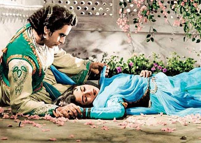 Dilip Kumar and Madhubala in a scene from <i>Mughal-e-Azam.</i>