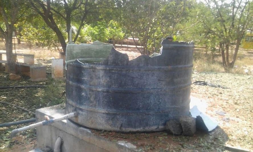 A water tank damaged due to alleged meteor explosion.(Photo: The News Minute)