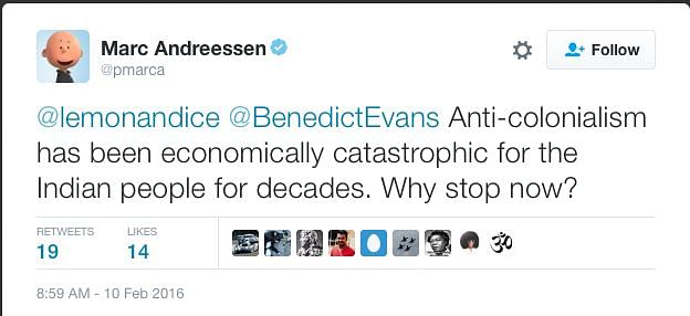 Marc Andreessen's tweet that enraged the nation. (Photo: Twitter)