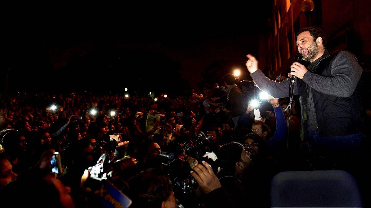 Congress vice president Rahul Gandhi speaking to protesting students at JNU, Delhi on Saturday, 13 February. (Photo: PTI)