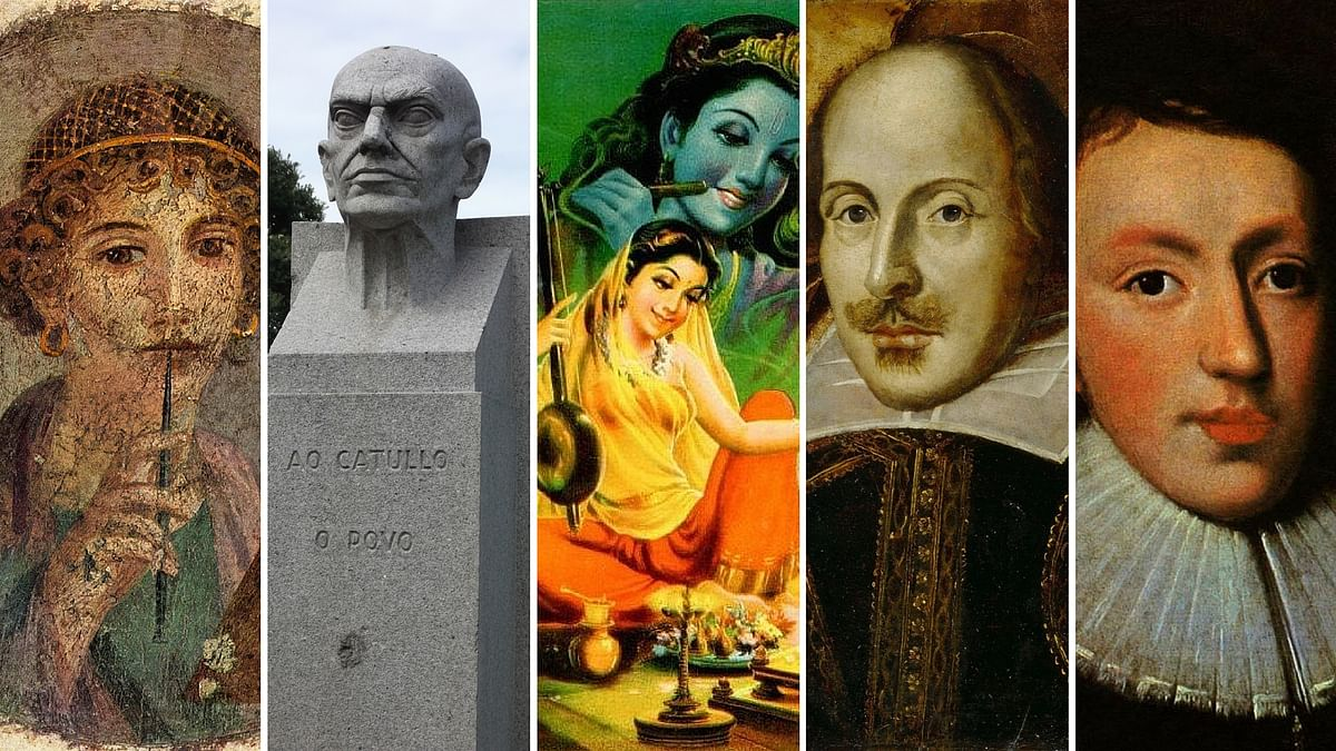Sappho, Catullus, Mirabai, Shakespeare and Milton. (Photo: <b>The Quint</b>)