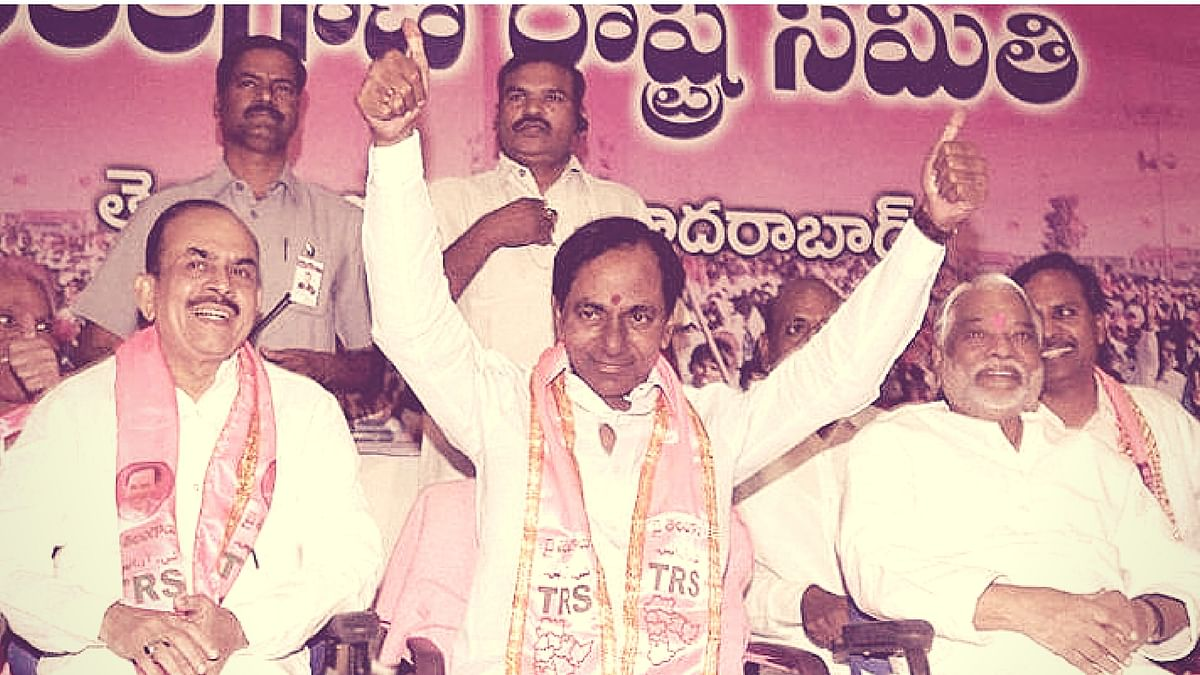 Telangana Chief Minister K Chandrasekhar Rao flanked by Deputy C M Mahmood Ali (left) and K Keshav Rao after TRS' win in GHMC elections in Hyderabad. (Photo: PTI)
