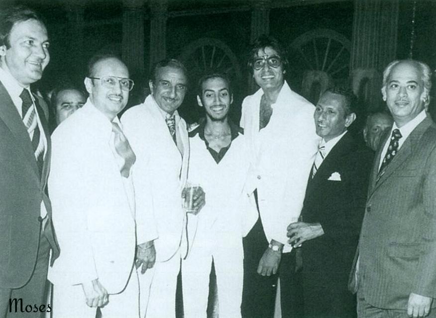 (From L to R) Prem Chopra, Manmohan Desai, Raj Khosla, Danny Desai, Amitabh Bachchan, Subhash Desai and Yash Johar (Photo courtesy: Twitter)