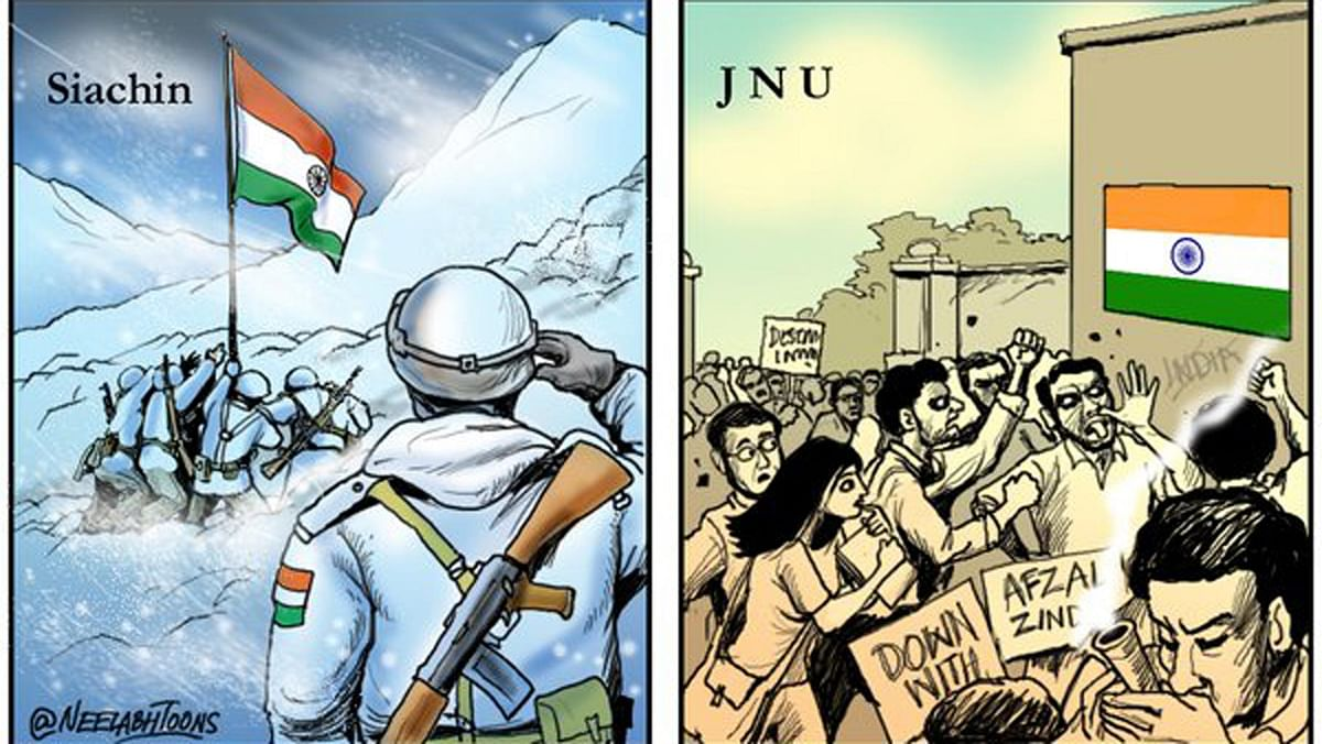 "Jai jawan vs Hai jawan cartoon by Neelabh Banerjee. (Photo: Twitter/<a href=""https://twitter.com/NeelabhToons"">@NeelabhToons</a>)"