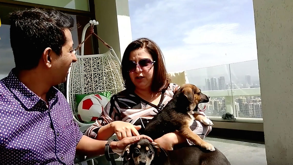 Farah Khan with her adopted pets at her home in Mumbai.