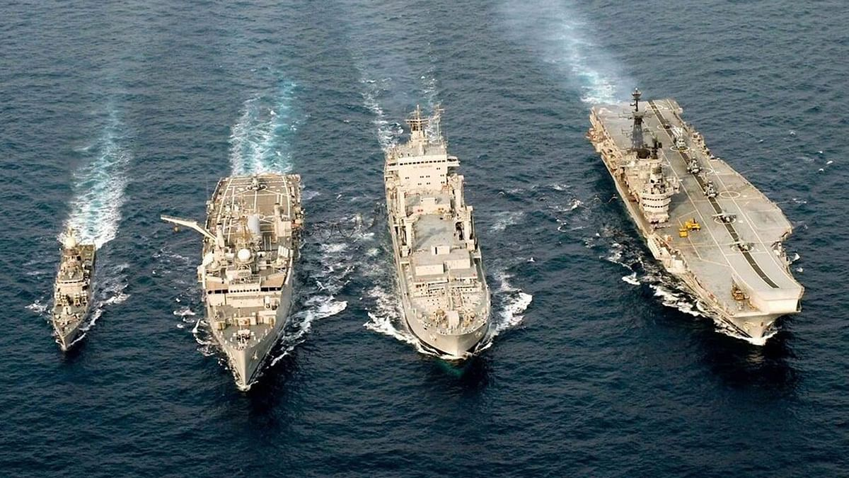 "International Fleet Review 2016 Rehearsals at Vizag. (Photo: Twitter/<a href=""https://twitter.com/PIB_India/status/694821467574259712"">@PIB_India</a>)"