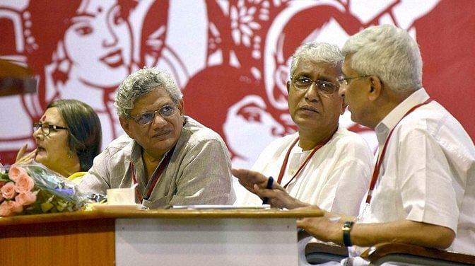 CPI(M) General Secretary Sitaram Yechury with Prakash Karat (right), Manik Sarkar (center) and Brinda Karat (left). (Photo: PTI)