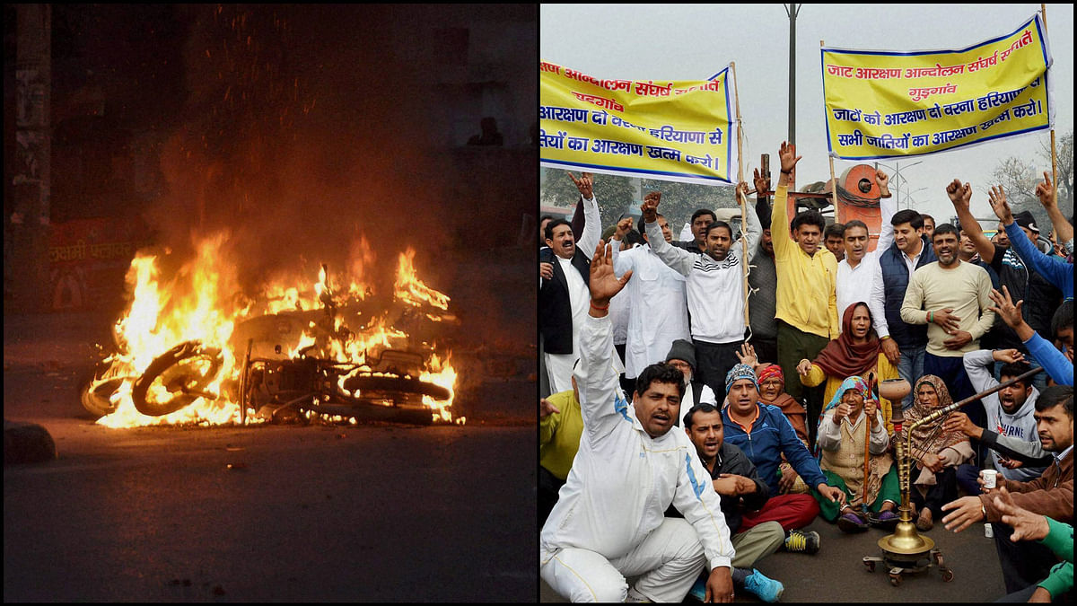 Violence during the Jat agitation for quota. (Photo: PTI)