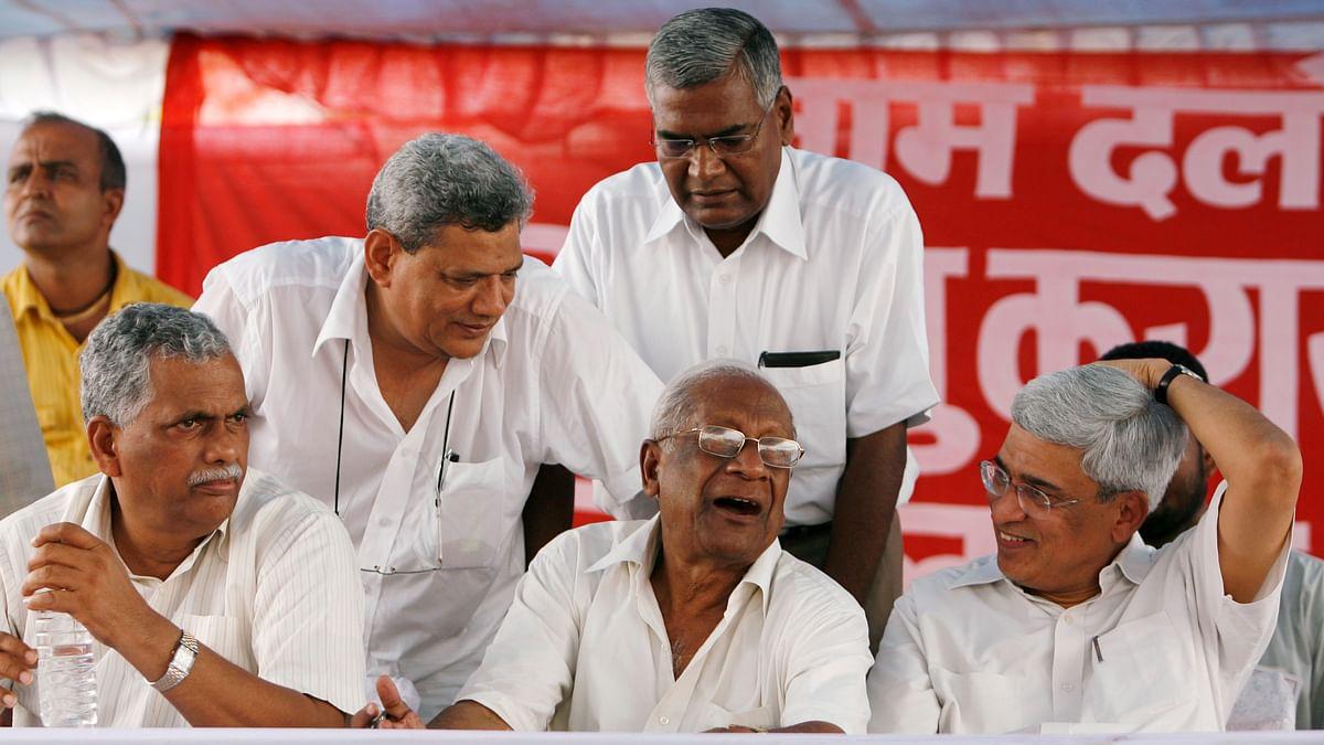 File Photo: (L to R) Senior communist leaders Debabrata Biswas, Sitaram Yechury, the late AB Bardhan, D. Raja (standing) and Prakash Karat (Photo: Reuters)