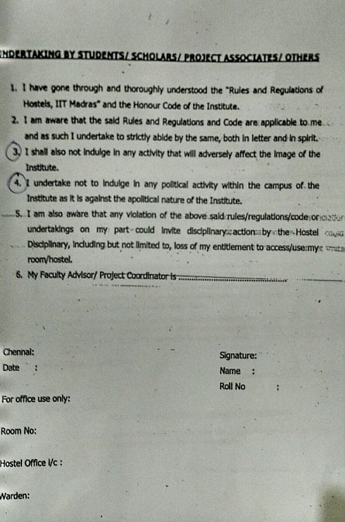 The new document given to the students.  (Photo Courtesy: <i>The News Minute</i>)