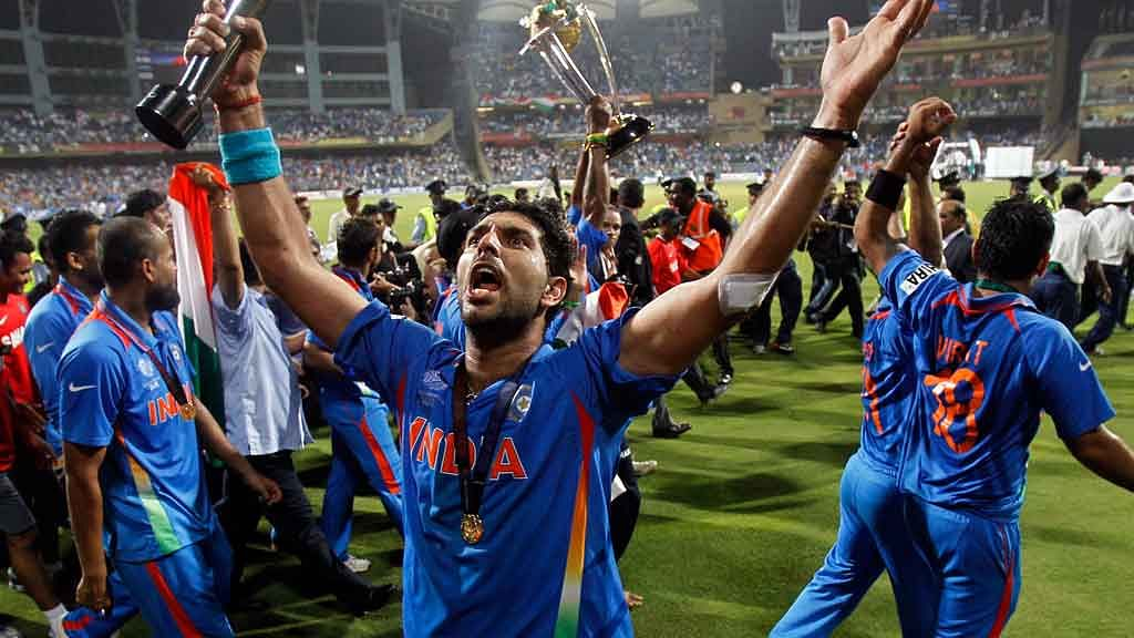Yuvraj Singh celebrates after leading India to a World Cup victory in 2011.