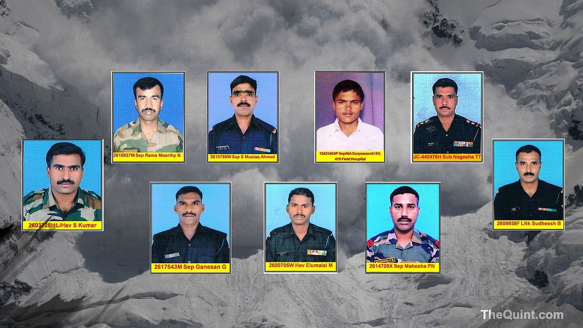 The nine martyrs posted in Siachen. (Photo: <b>The Quint</b>)