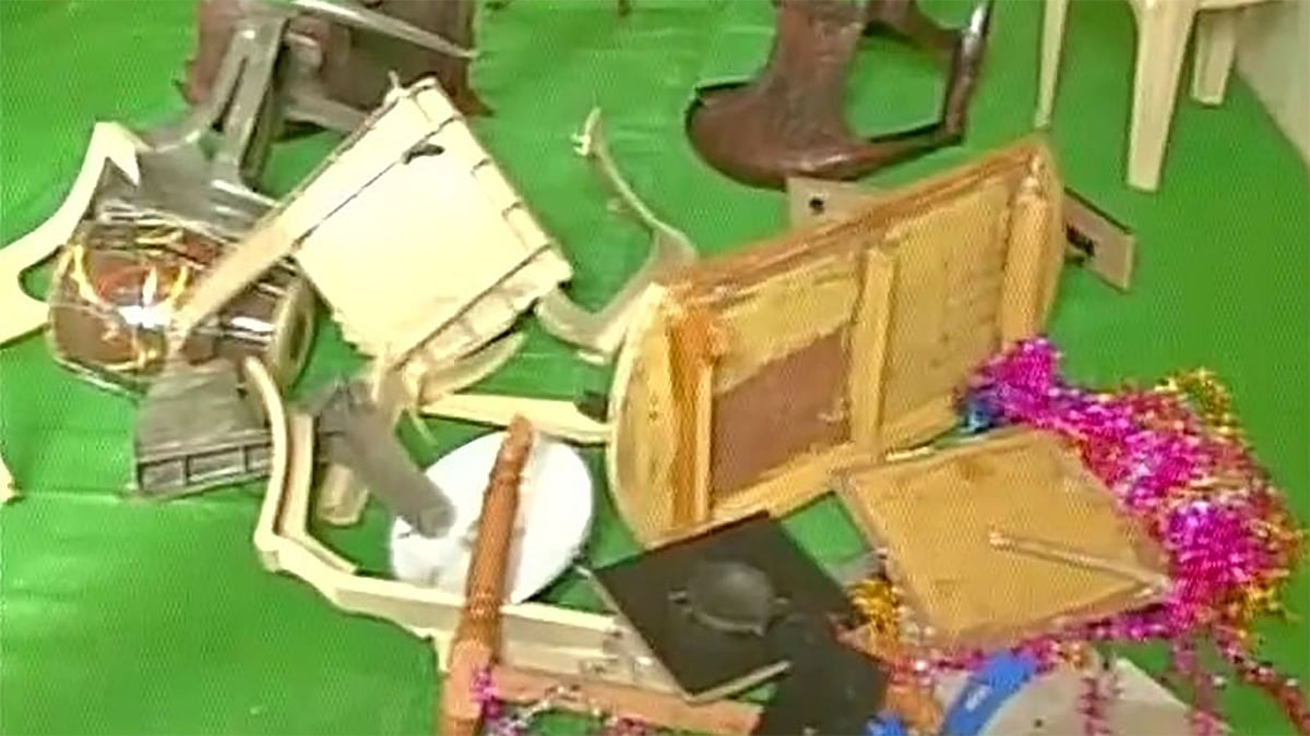 A church in Raipur was vandalized by unidentifed men. (Photo: ANI)