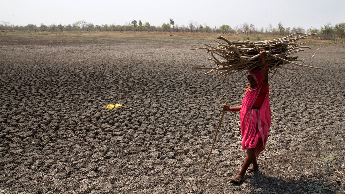 A woman walks through Khomnal Village pond at Mangalwheda taluk, Solapur district in Maharashtra. (Photo Courtesy: Subrata Biswas/Greenpeace)
